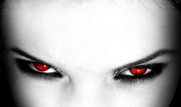 Vampiress In Deep Passion Rage With Eyes Glowing Red