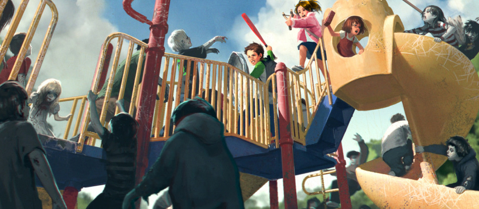 The Brave Kids Of A Parallel Universe Fight Of Rabid Child Zombies In An Awesome Playground Battle.